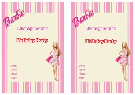 printable birthday invitations barbie barbie birthday invitations birthday printable