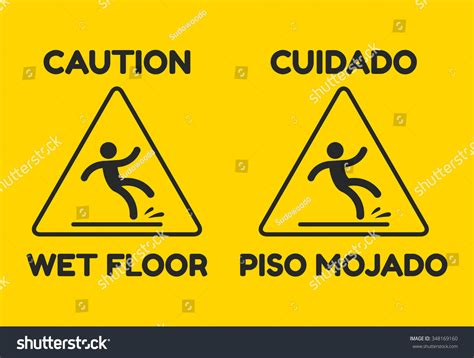 floor in spanish yellow wet floor sign text english stock vector 348169160