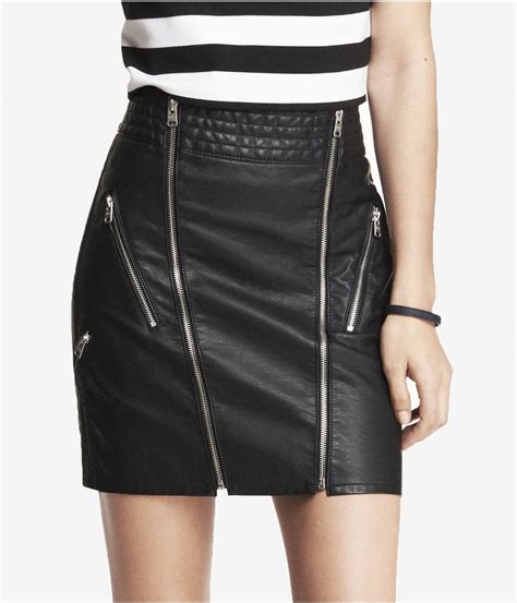 express high waist minus the leather zippered mini skirt