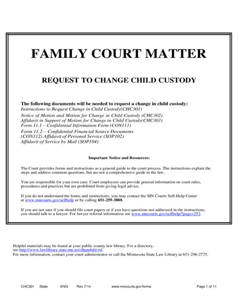 Family Court Matter Request To Change Child Custody Minnesota Free Download Affidavit Template For Family Court