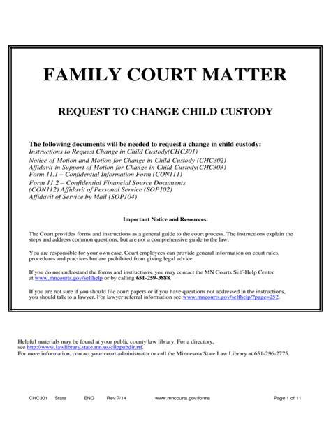 Writing Affidavit For Child Custody Family Court Matter Request To Change Child Custody Affidavit Template For Family Court