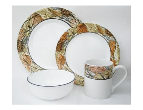 leaf pattern dinnerware set 16pc corelle woodland leaves camouflage dinnerware set