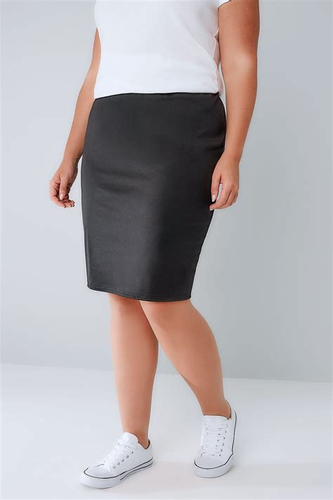 Side Slide Pencil Skirt black stretch jersey pencil skirt with elasticated