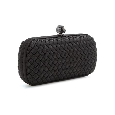 Bottega Veneta Intrec Capretto Knot Clutch In Black by Bottega Veneta Stretch Knot Grosgrain Intrecciato Baguette