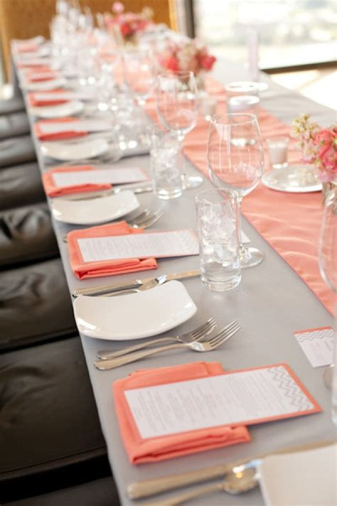 coral colored table ls grey and coral wedding reception jpg