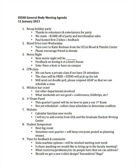 17 agenda exles