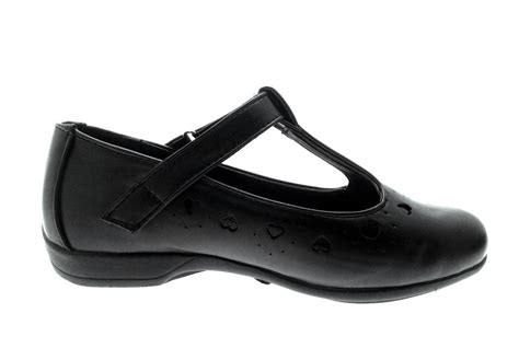 black school shoes faux leather t bar