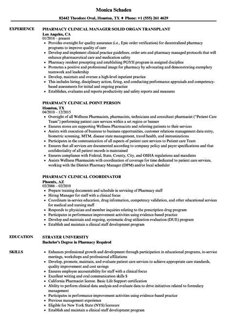 Specialty Pharmacist Resume by Pharmacy Clinical Resume Sles Velvet
