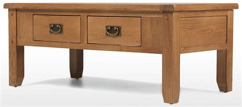 Rustic Oak 2 Drawer Coffee Table Quercus Living Rustic Oak Coffee Table With Drawers