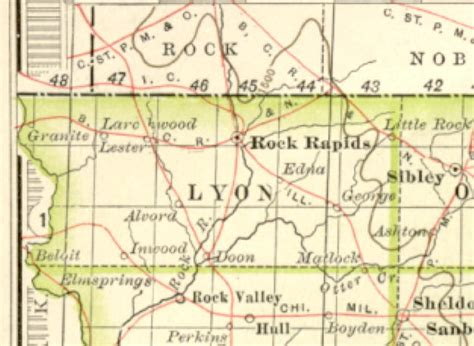 Lyon County Records 1897 Century Atlas Of The State Of Iowa