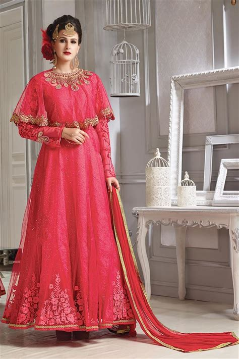 buy marvelous silk and net fabric pink color designer