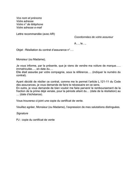 Modèle Résiliation Contrat Assurance r 233 siliation de contrat d assurance t 233 l 233 chargement