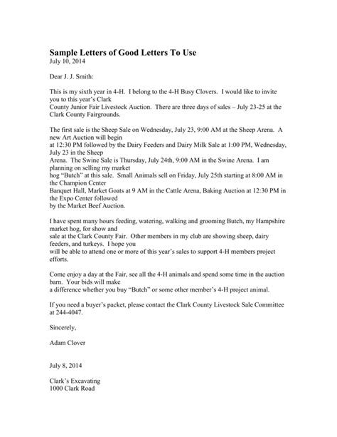 4 H Resume by 4h Auction Bidding Letter Gallery Cv Letter And