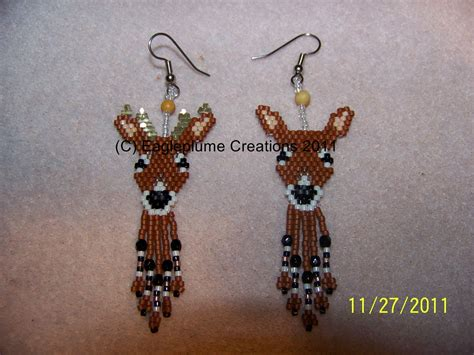 Handmade Earring Patterns - handmade seed bead brick stitch beaded deer by