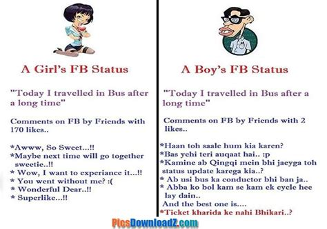 hot funny facebook status girls vs boys facebook status funny funny images