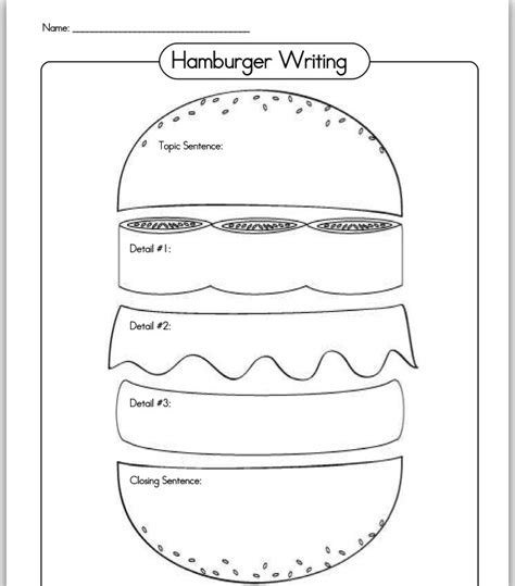 burger writing template hamburger writing planing organizer writing
