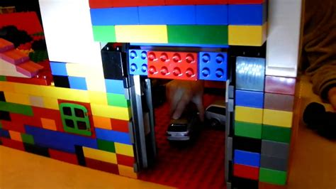 tutorial lego single car garage lego duplo automatic garage door upgraded door youtube