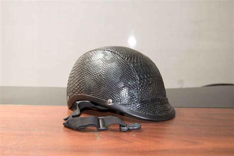 casco moto cuero casco de cuero negro chamorep