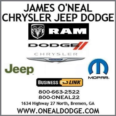 oneal dodge o neal chrysler dodge jeep ram bremen ga read