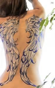 full wings tattoo design for women on back tattoos