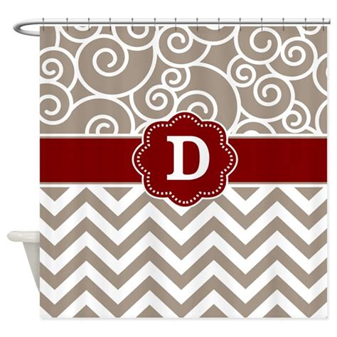 Tan And White Chevron Shower Curtain Tan Red Damask Chevron Monogram Shower Curtain By