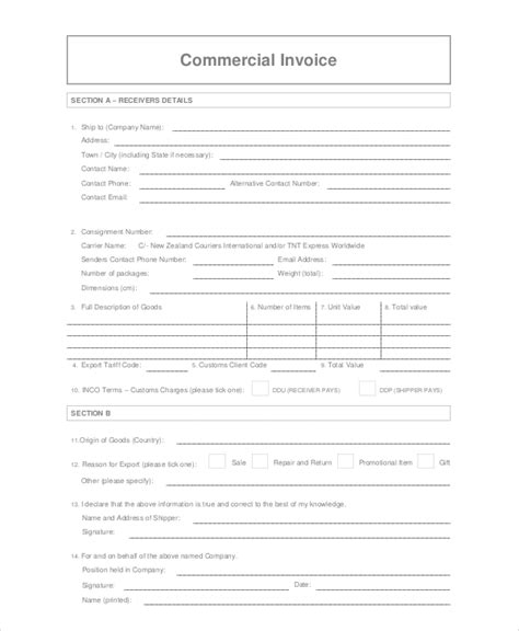 commercial invoice 10 free pdf word documents download