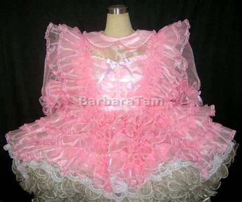 sissies in frilly dresses bbt adult sissy frilly prissy organza lacy dress pink