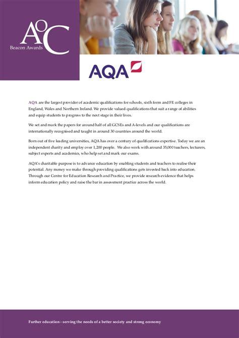 Aoc Calendar Aoc Beacon Awards 2014 15 Aqa Award For Continued