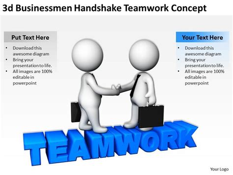 3d Businessmen Handshake Teamwork Concept Ppt Graphics Icons Powerpoint Presentation Teamwork Ppt