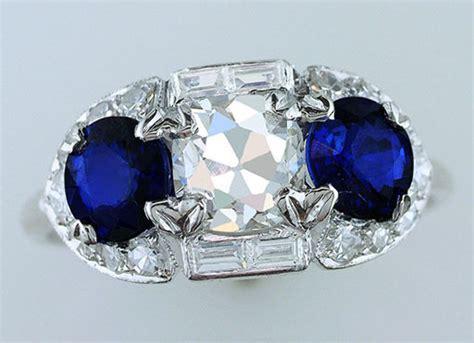 vintage antique gia certified ct diamond sapphire
