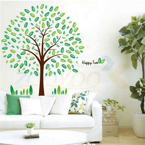 nature home decor family tree wall decal fresh green leaves pvc wall sticker