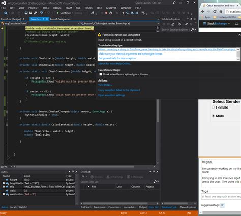 design form using wpf catch exception and reset windows form c stack overflow