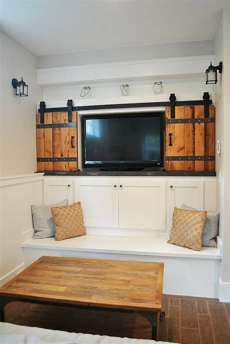 tv cabinet with doors to hide tv architectural accents sliding barn doors for the home