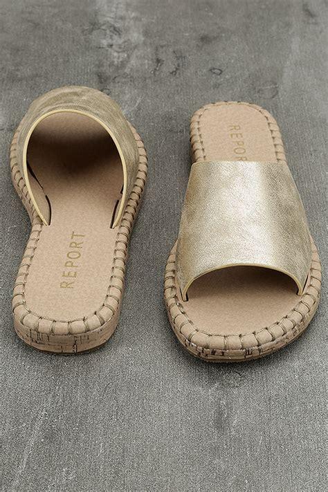 report gold sandals report farrel gold slide sandals cork slides gold