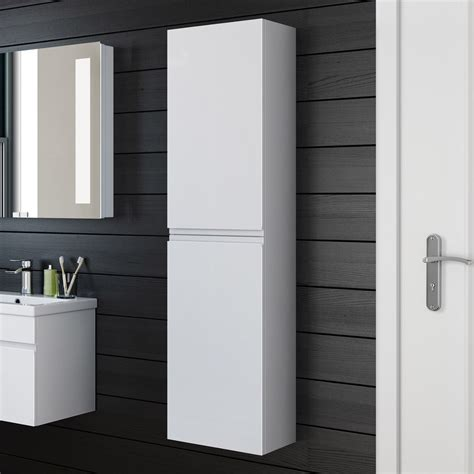 Contemporary Bathroom Storage 1400mm Modern White Gloss Bathroom Furniture Cabinet Storage Unit Mf819 Ebay