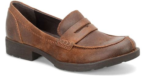 born loafers born burr grain leather loafers in brown for