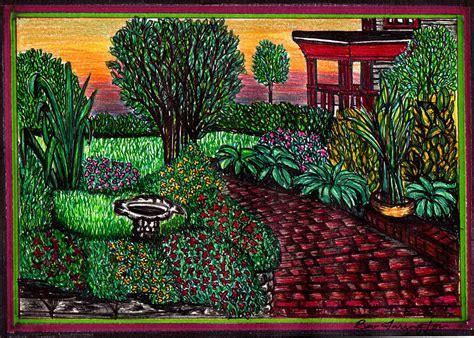 flower garden drawing  beverly farrington