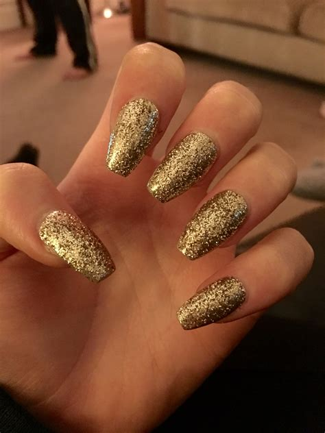 Glitter Nail by Acrylic Gold Glitter Nails Nails Gold