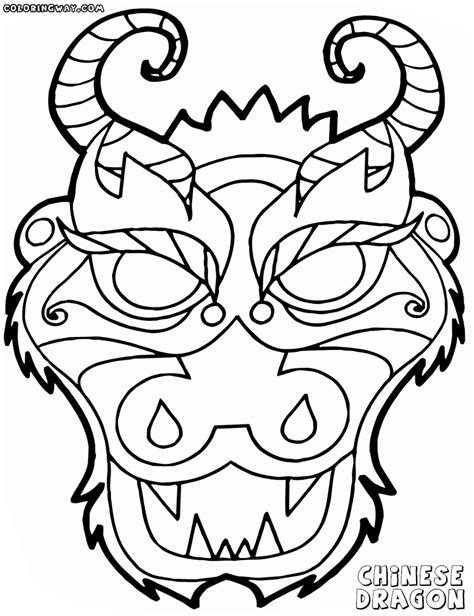 90 chinese dragon face coloring pages to print