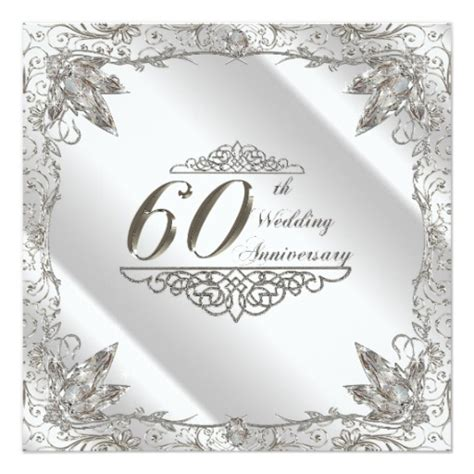 60th wedding anniversary card templates free 60th wedding anniversary invitation card zazzle