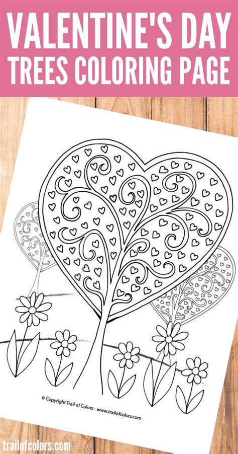 valentines day coloring page trees valentines day coloring page trail of colors