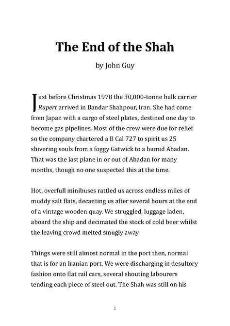 short stories john guy