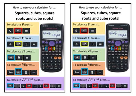 calculator root how to use your calculator help sheet for squares cubes