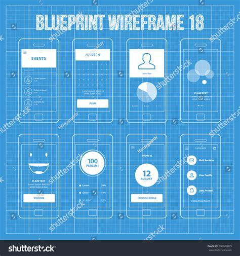 blueprint design app mobile app blueprint wireframe ui kit stock vector