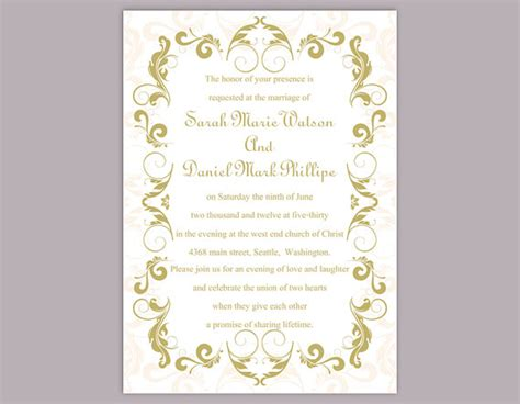 wedding invitation editable template diy wedding invitation template editable text word file