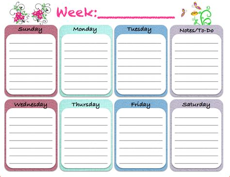 printable weekly calendars bookletemplateorg