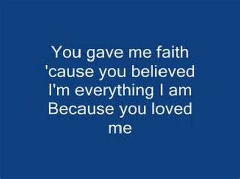 because you love to celine dion because you loved me with lyrics youtube
