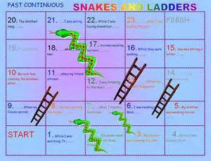 Past continuous snakes and ladders boardgame