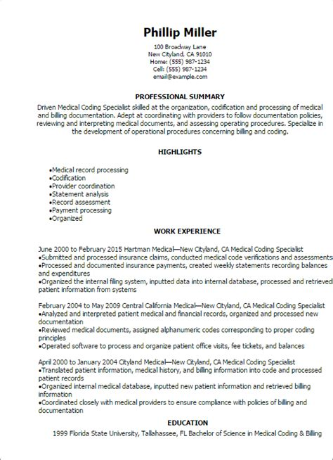 Coding Clerk Sle Resume by Professional Coding Specialist Resume Templates To Showcase Your Talent Myperfectresume