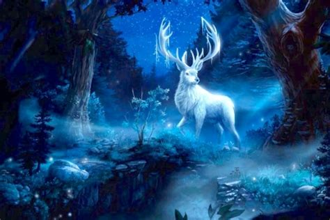 wallpaper blue deer white fantasy stag fantasy abstract background